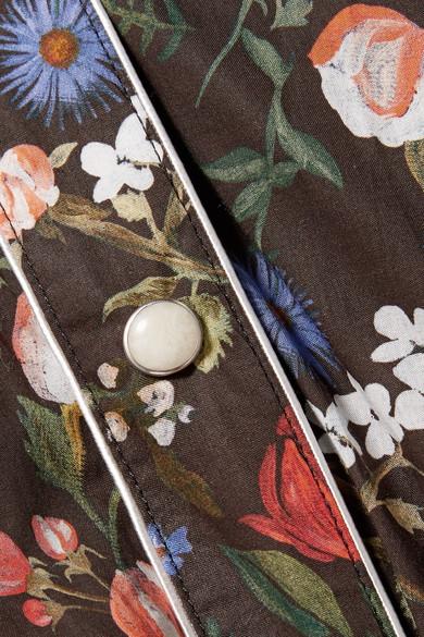 R13 Midikleid aus Baumwoll-Voile mit floralem Print