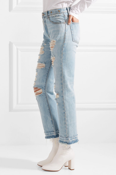 R13 Bowie halbhohe Jeans mit geradem Bein in Distressed-Optik