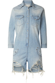 R13 Distressed denim playsuit