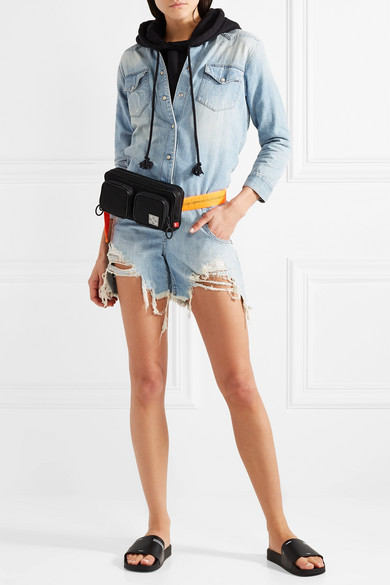 R13 Playsuit aus Denim in Distressed-Optik