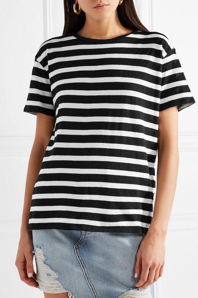 R13 Boy gestreiftes T-Shirt aus einer Baumwoll-Kaschmirmischung