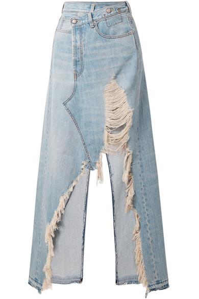 Harrow Distressed Cotton-Denim Maxi Skirt in Light Blue