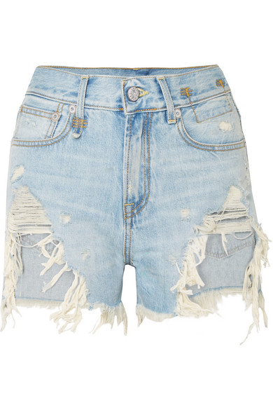 R13 Jeansshorts in Distressed-Optik