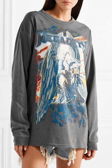 R13 Printed Oversized-uppers Of Cotton-jersey In Distressed-optics