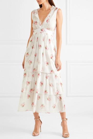 Brock Collection Dale Kleid aus Baumwoll-Voile mit floralem Print und Spitzenbesätzen
