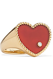 18-karat gold, agate and diamond ring