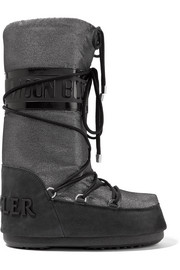 Moncler + Moon Boot Saturne metallic shell and nubuck snow boots