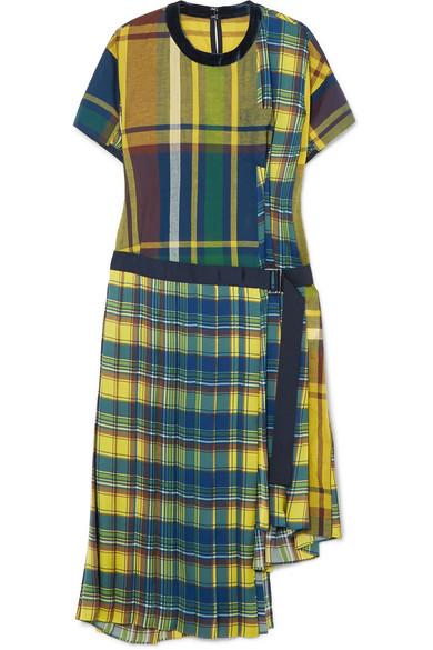 Sacai - Asymmetric Cotton-blend Midi Dress - Yellow
