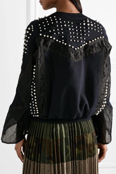 Sacai Jacke aus einer Baumwoll-Kaschmirmischung mit Einsätzen aus Organza und Verzierungen