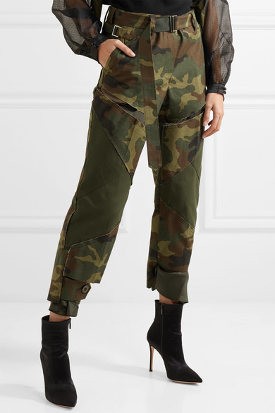 Sacai Trousers With Straight Leg Of Cotton With Camouflage-print In Distressed-optics