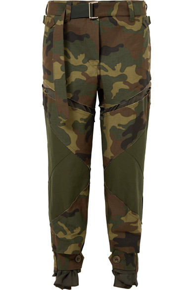 Sacai - Distressed Camouflage-print Cotton Straight-leg Pants - Army green