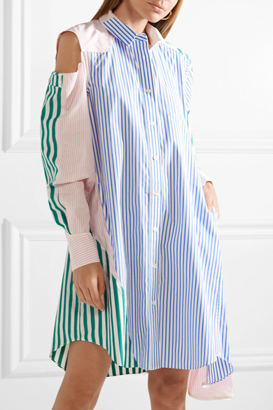Sacai Hemdblusenkleid aus gestreifter Baumwollpopeline mit Cut-outs in Patchwork-Optik