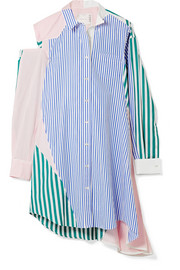 Cutout patchwork striped cotton-poplin shirt dress