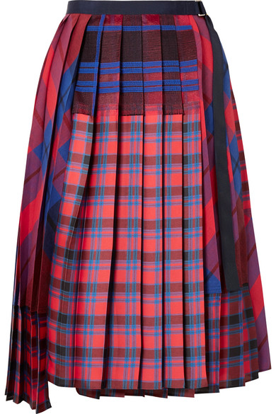 Sacai - Pleated Checked Satin And Cotton-canvas Wrap Skirt - Red