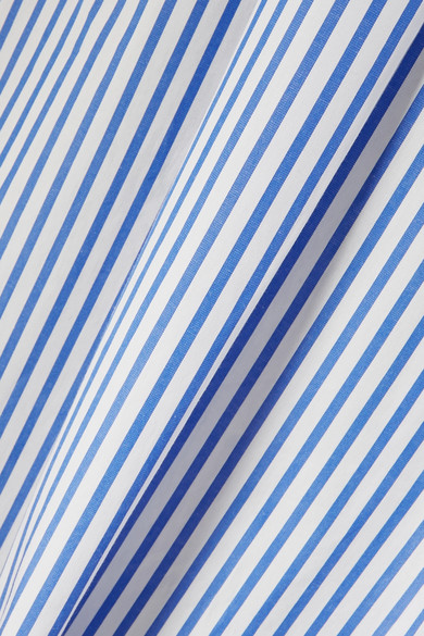 Sacai Patchwork-Hemd aus gestreifter Baumwollpopeline mit Cut-outs