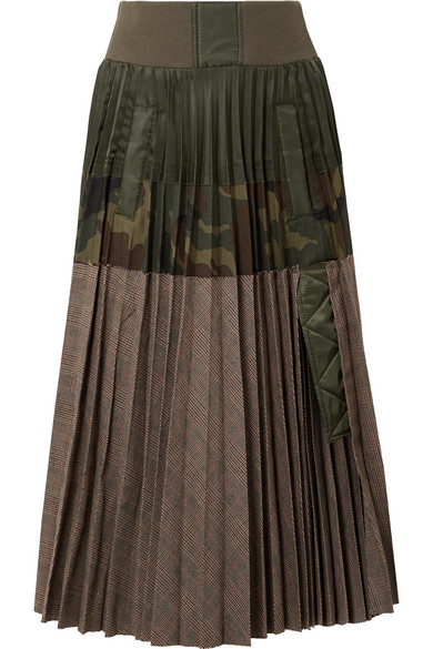 Sacai - Pleated Shell And Printed Cotton-blend Midi Skirt - Army green
