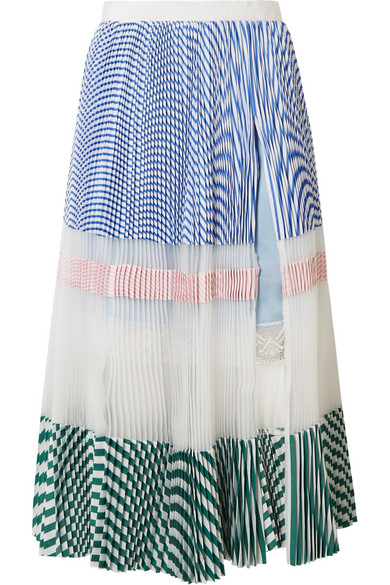 Sacai - Pleated Striped Cotton And Organza Midi Skirt - Blue