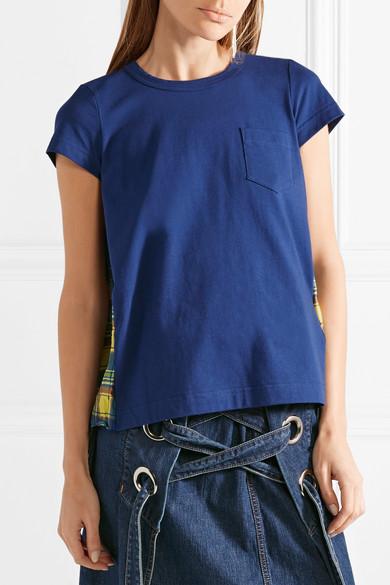 Sacai T-Shirt aus Baumwoll-Jersey und kariertem Satin