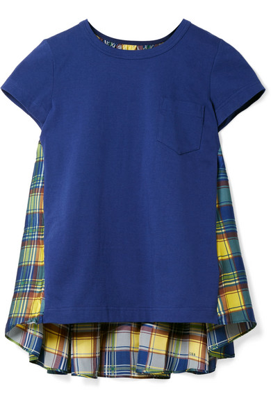 Sacai - Cotton-jersey And Checked Satin T-shirt - Blue