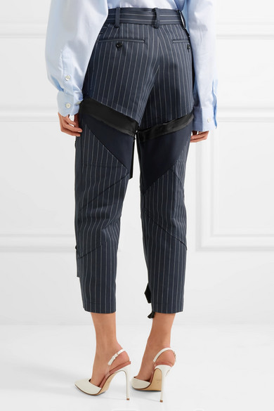 Pinstripe Sacai Trousers With Straight Leg Of Cotton With