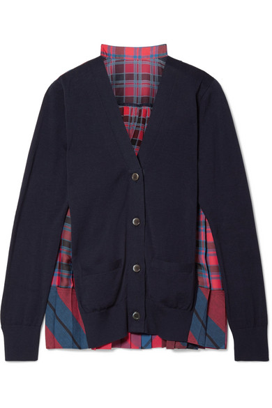 Sacai - Cotton And Pleated Checked Satin Cardigan - Midnight blue