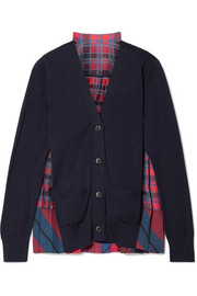 Cotton and pleated checked satin cardigan