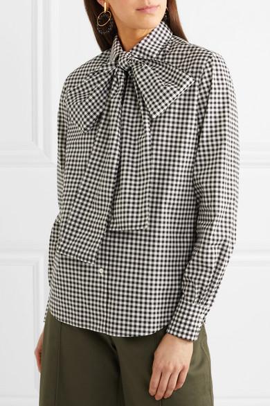 Sara Battaglia. Pussy-bow gingham cotton-poplin shirt