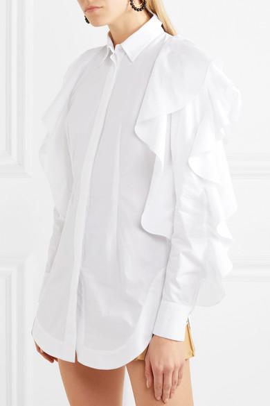 Sara Battaglia Hemd aus Baumwollpopeline mit Rüschen