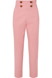 Button-detailed stretch-crepe straight-leg pants