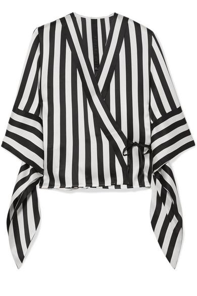 Petar Petrov - Striped Silk Wrap Blouse - Black