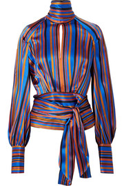 Open-back striped silk-satin wrap blouse