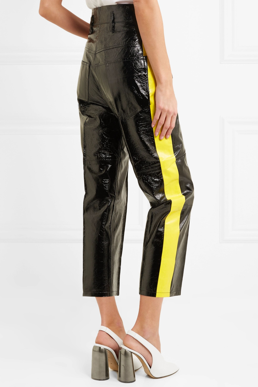 Petar Petrov Striped crinkled patent-leather straight-leg pants