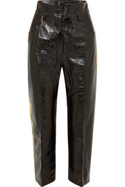 Striped crinkled patent-leather straight-leg pants