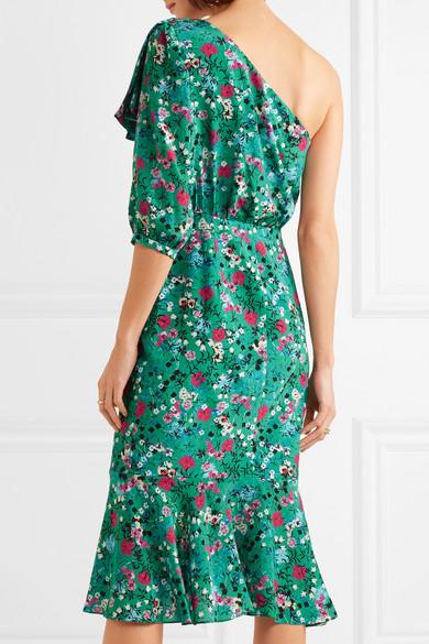 Saloni Juliet schulterfreies Kleid aus Seidensatin mit Blumenprint