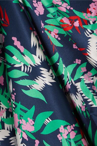 Saloni Lily Maxikleid aus bedrucktem Seidensatin mit asymmetrischer Schulterpartie