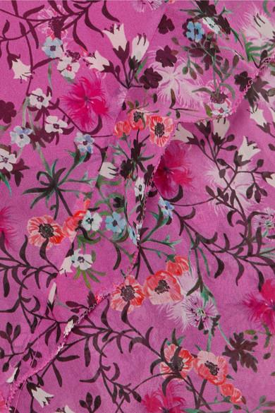 Saloni Izzie Maxikleid aus floral bedrucktem Seidenchiffon mit Rüschen