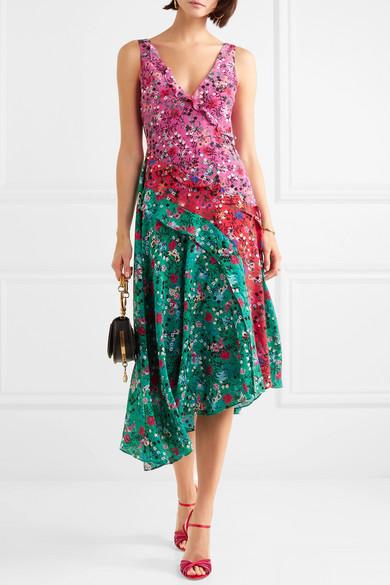 Saloni Aggie Midikleid aus floral bedruckter Seide mit Rüschen