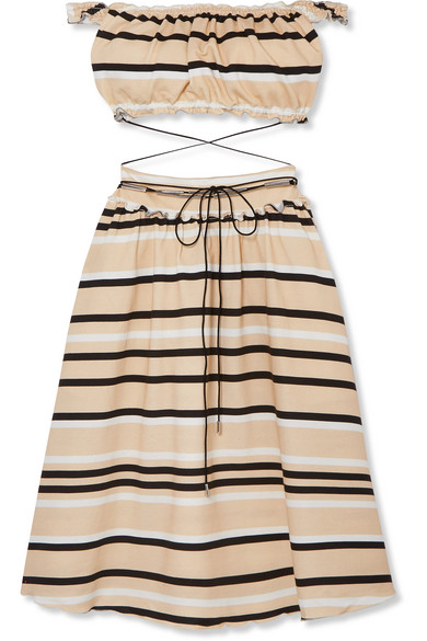 Off The Shoulder Cutout Striped Cotton Blend Dress by Jw Anderson