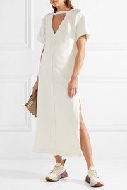 Cutout textured stretch-cotton midi dress
