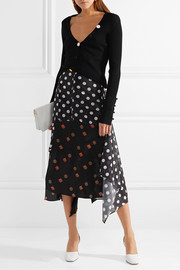 Asymmetric printed jersey and silk-crepe midi skirt