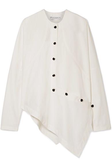 JW Anderson Asymmetrisches Hemd aus Popeline aus einer Baumwollmischung mit Knopfverzierungen