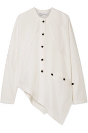 Asymmetric button-detailed cotton-blend poplin shirt