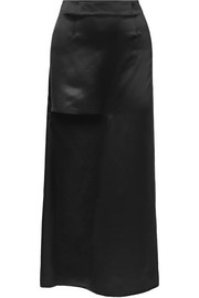 Cutout silk-satin maxi skirt