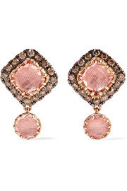 Caprice Cushion 14-karat rose gold, diamond and quartz earrings