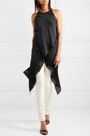Draped silk-chiffon top