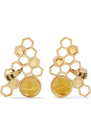 9-karat gold multi-stone earrings