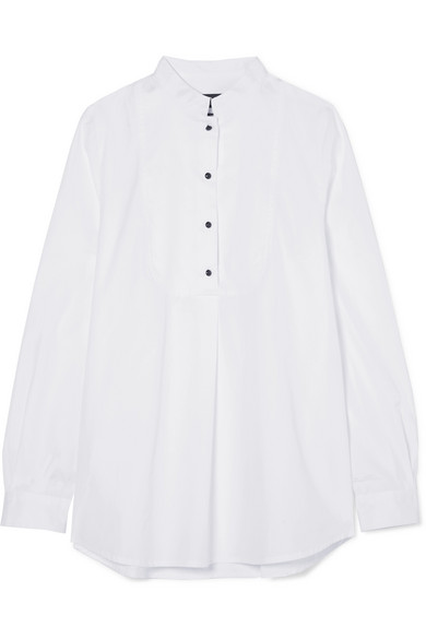 Christina Crystal-Embellished Piqué-Paneled Cotton-Poplin Blouse in White