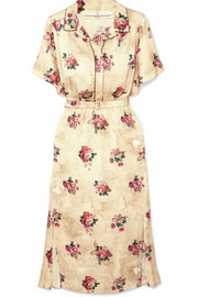 Golden Goose Deluxe Brand Vanilla belted floral-print satin midi dress