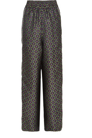 Sophie piped jacquard wide-leg pants