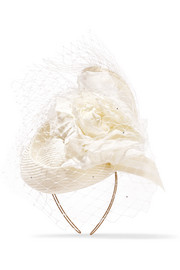 Crystal-embellished veiled headpiece